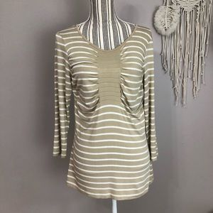 Cable & Gauge Large tan and white striped blouse